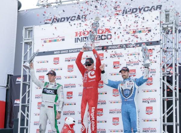 The Honda Indy 200 at Mid Ohio podium: Sebastien Bourdais (2nd), Scott Dixon (winner), James Hinchcliffe (3rd).  [Andy Clary Photo]