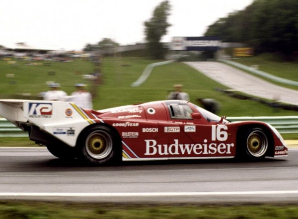 The Dyson Racing Porsche 962 entering Turn 5 during the 1985 Camel GT race at Road America.  [Photo by Jack Webster]
