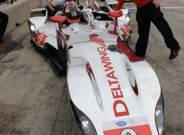 Back to the Future. The Deltawing in the pits at Road America at the ALMS race in 2013.  [Photo by Jack Webster]