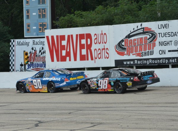 Grant Enfinger (90) and Mason Mitchell (98) were the class of the field for most of the race until each found misfortune.  [Russ Lake Photo]