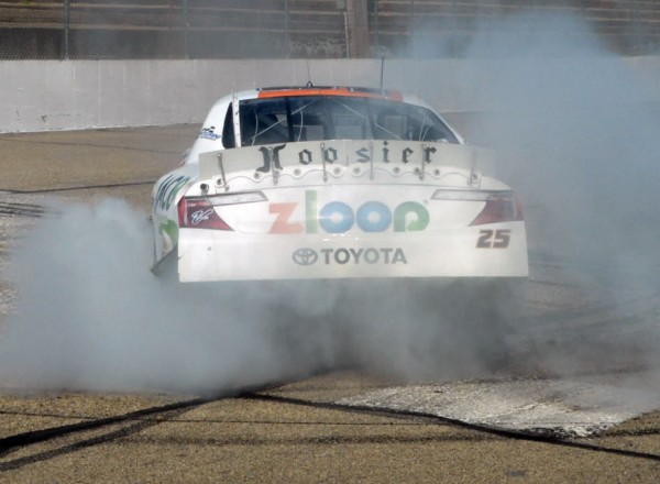 Justin Boston celebrates with a burnout after winning the ARCA race in Madison.  [Russ Lake Photo]