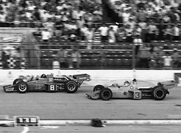 Gary Bettenhausen wins! Well not really, Johnny Rutherford takes the checkered flag and Bettenhausen running second is nearly a lap behind.   [Russ Lake photo]