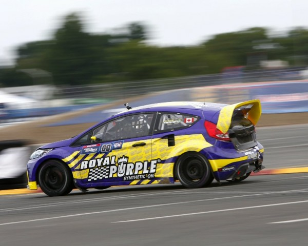 Canadian Steve Arpin's Ford speeds through the turn in New York.  [credit Alison Padron/Red Bull Content Pool]