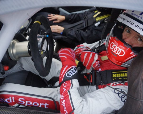 Dindo Capello behind the wheel of the Audi R8 GT.  [Photo by Jack Webster]