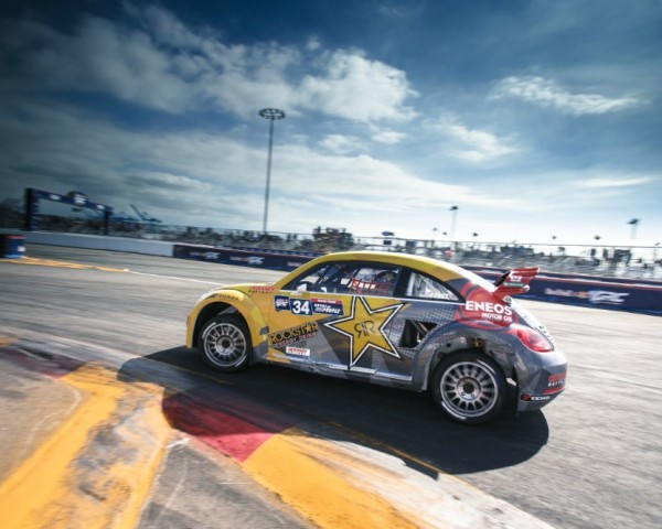 Tanner Foust showed off the VW Beetle Red Bull Global RallyCross racecar in the GRC weekend at The Port of Los Angeles.  [Credit Larry Chen / Red Bull Content Pool]