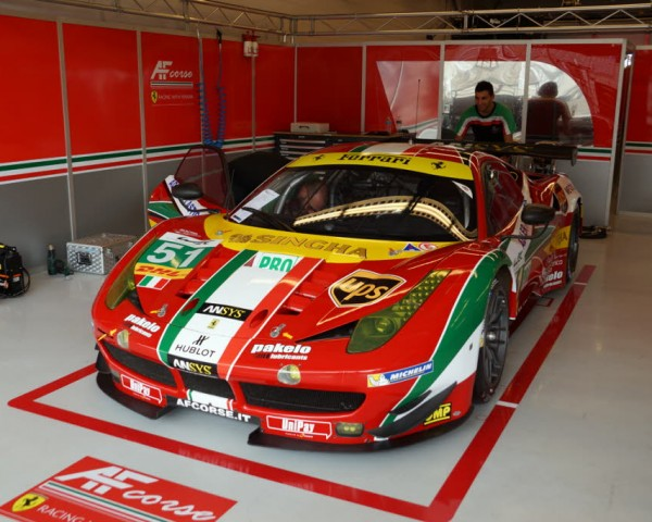 The beautifully prepared AF Corse Ferrari 458 Italia in the garage at Austin.  [Jack Webster Photo]