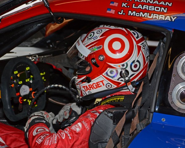 Kyle Larson behind the wheel of the No. 02 car — a far different cockpit from a sprint car.  [Joe Jennings Photo]