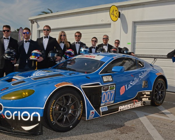Kevin Buckler's team fields two Aston Martins and for a press conference, all drivers were decked out in tuxedos.  [Joe Jennings Photo]