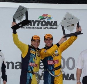 Matt and Hugh Plumb in victory lane for winning GS class of BMW Performance 200.  [Joe Jennings Photo]