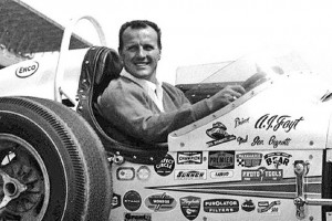 AJ Foyt poses at the Indianapolis Motor Speedway following his 2nd Indy 500 win in 1964.  [Russ Lake Photo]