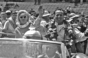 AJ Foyt rides in the pace car following his 1967 Indianapolis 500 victory.  [Russ Lake Photo]