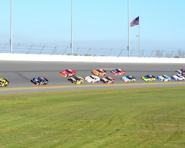 Lap one in the Lucas Oil 200 ARCA Racing Series presented by Menards season opener at Daytona.  [Russ Lake Photo]