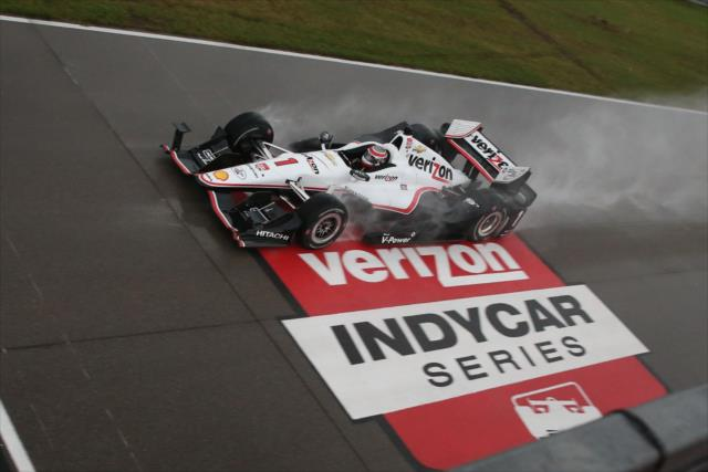 IndyCar Series driver Will Power runs in the rain at New Orleans Motorsports Park. [Chris Jones Photo]
