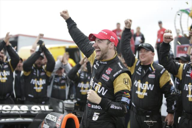 James Hinchcliffe celebrates his victory after winning the Indy Grand Prix of Louisiana IndyCar Series race at NOLA Motorsports Park. [Chris Owens Photo]