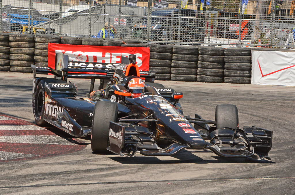 James Hinchcliffe shown maneuvering through tight hairpin turn in Long Beach. [Joe Jennings Photo]