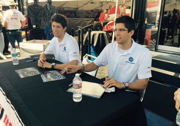 Jordan and Ricky Taylor signing autographs for fans before the race.  [Eddie LePine Photo]