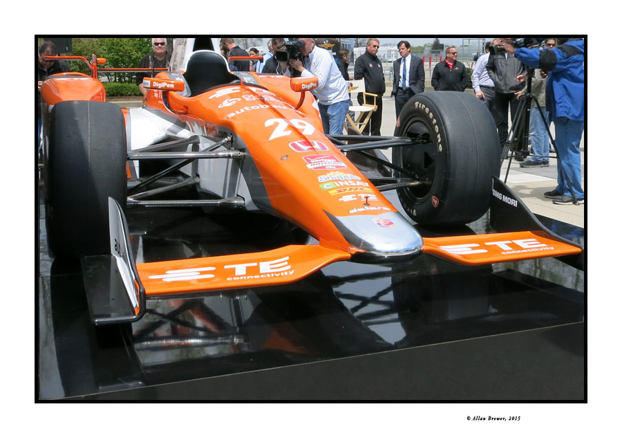 A front view of the new Honda Super Speedway car for the IndyCar Series. [Allan Brewer Photo]