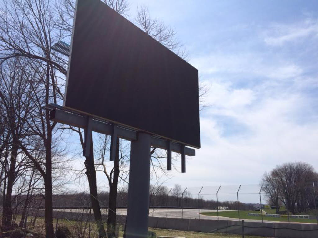 New video display board being assembled in Turn 3 at Road America.
