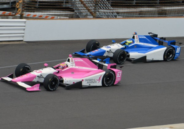 Pippa Mann and Carlos Huertas practice on Monday.  [Russ Lake Photo]