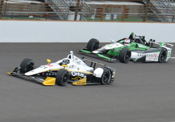 Josef Newgarden leads Carlos Munoz in practice on Monday at the Indianapolis Motor Speedway.  [Russ Lake Photo]