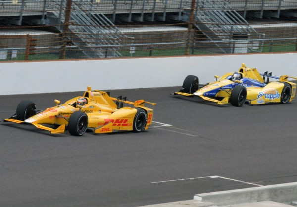 Ryan Hunter-Reay and Marco Andretti practice for the Indy 500.  [Russ Lake Photo]