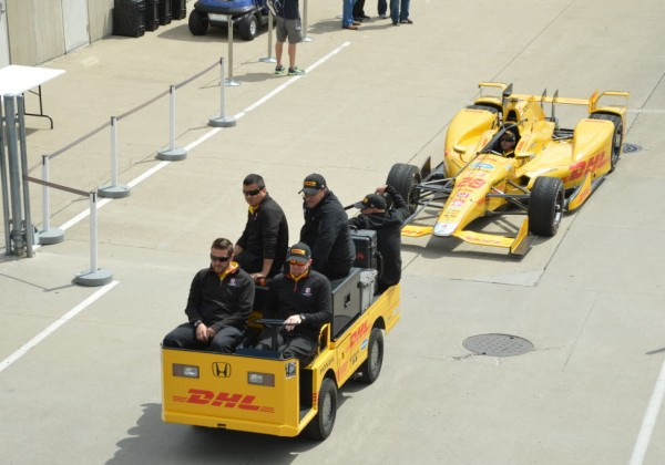 The 2014 Indy 500 winners car heads to pit lane at the Speedway.  [Russ Lake Photo]