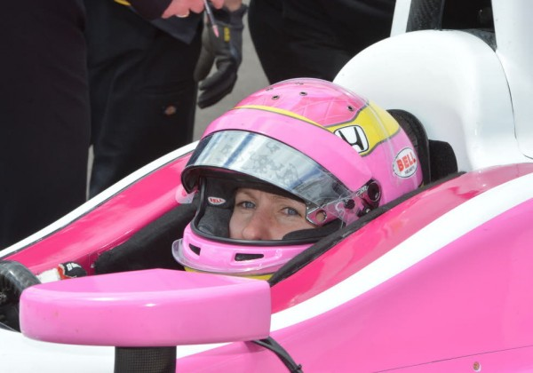 Pippa Mann is ready to roll at the Speedway.  [Russ Lake Photo]
