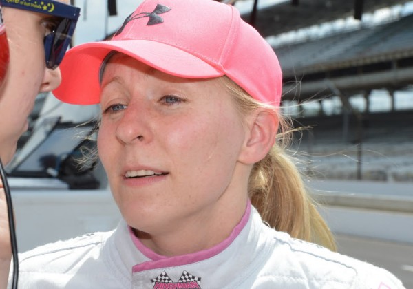 Pippa Mann during practice on Tuesday at the Speedway.  [Russ Lake Photo]