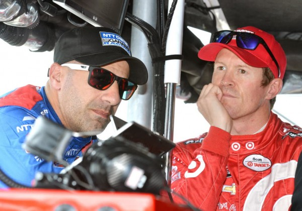 Tony Kanaan and Scott Dixon duing Tuesday's practice at the Speedway.  [Russ Lake Photo]