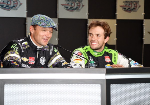 Townsend Bell (wnd fastest of the day) and Carlos Munoz (fastest) meet with the media.  [Russ Lake Photo]