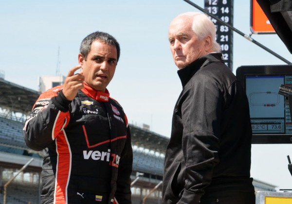 Juan Pablo Montoya talks with team owner Roger Penske.  [Russ Lake Photo]