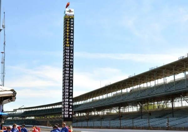 The scoring pylon at the Indianapolis Motor Speedway shows the fastest drivers in Wednesday's practice.  [Russ Lake Photo]