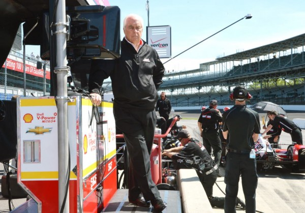 Roger Penske at the Indianapolis Motor Speedway during practice.  [Russ Lake Photo]