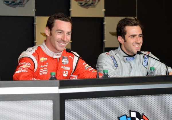 Simon Pagenaud and Tristan Vautier meet with the media at IMS.  [Russ Lake Photo]