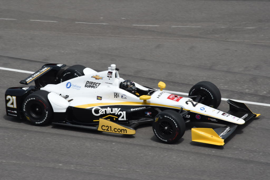 Josef Newgarden on course at the Indianapolis Motor Speedway. [Jim Haines Photo]