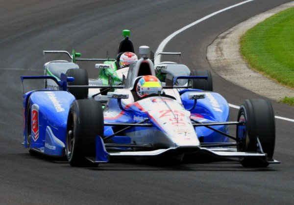 Justin Wilson and Carlos Munoz practice at IMS.  [Russ Lake Photo]