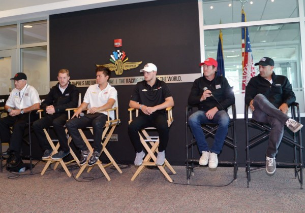 The Chip Ganassi drivers meet with the media.  [Russ Lake Photo]