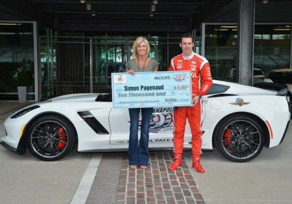 Simon Pagenaud wins a $10,000 bonus on Fast Friday for the fastest lap of the day.  [Russ Lake Photo]