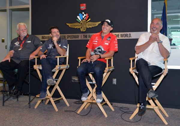 RLL drivers Graham Rahal and Oriol Servia and Graham Rahal (midde) talk with the media.  [Russ Lake Photo]