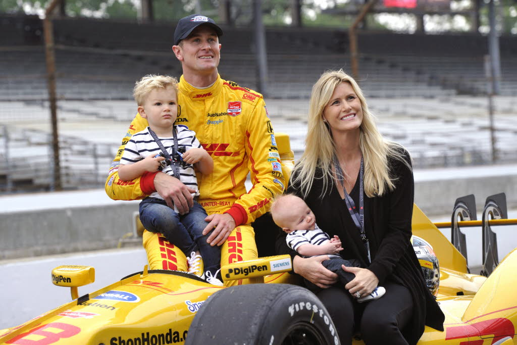 Ryan Hunter-Reay with wife Beccy and family at Indianapolis. [Russ Lake Photo]