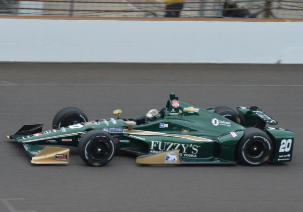 Ed Carpenter gets back on track after getting upside down in an accident earlier in the day.  [Russ Lake Photo]
