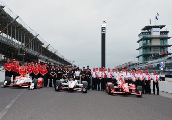 Simon Pagenaud, Will Power and Scott Dixon and their teams.  The front row for the 2015 Indianapolis 500.  [Russ Lake Photo]