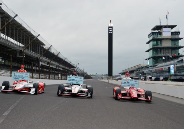 Simon Pagenaud, Will Power and Scott Dixon.  The front row for the 2015 Indianapolis 500.  [Russ Lake Photo]