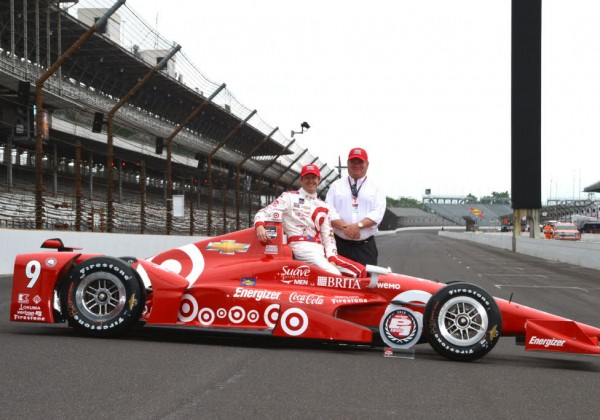 Scott Dixon and team owner Chip Ganassi.  Pole winner for the 2015 Indianapolis 500.  [Russ Lake Photo]