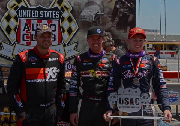 Podium finishers Bobby Santos, Kody Swanson and winner Tanner Swanson.  [Joe Jennings Photo]