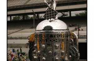 The Borg-Warner Trophy on race day morning at the Indianapolis Motor Speedway. [Allan Brewer Photo]