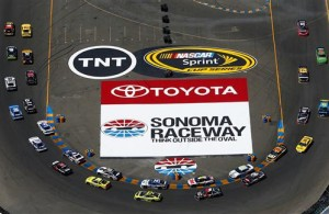 Drivers head to the green on a restart during the NASCAR Sprint Cup Series Toyota/Save Mart 350 at Sonoma Raceway. [Jonathan Ferrey/NASCAR via Getty Images]