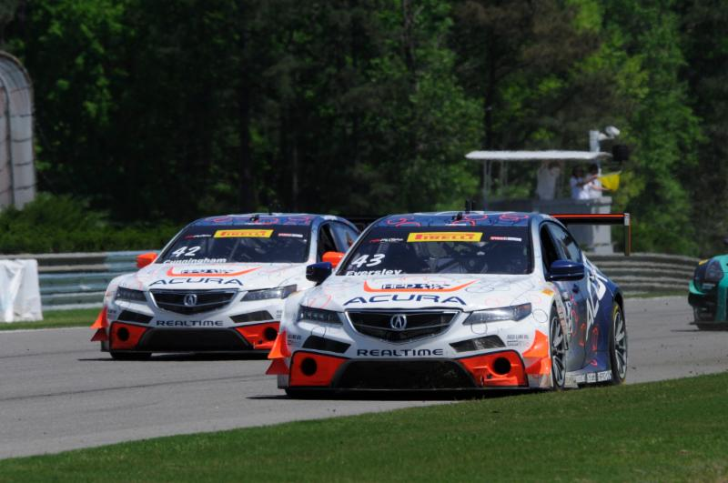 Peter Cunningham and teammate Ryan Eversely in their RealTime Racing Acuras. [ Photo credit: Acura Motorsports/Exclusive Sports Car Photography]