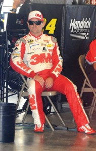 As intense as ever, Jeff Gordon during a break in practice for the Brickyard 400. [Father Dale Grubba Photo]