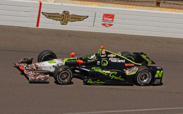 Townsend Bell in action at Indianapolis in the colorful Robert Graham No. 24.  [Joe Jennings Photo]